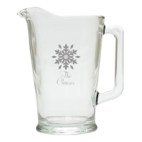 PERSONALIZED SNOWFLAKE PITCHER  (GLASS)
