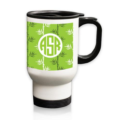 Personalized White Stainless Steel Travel Mug - 14 oz.Asian Elements - Green TeaCircle Monogram