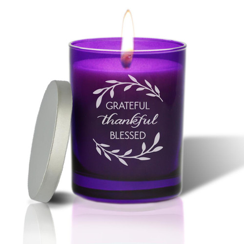 Amethyst Soy Glass Candle - Grateful Thankful Blessed