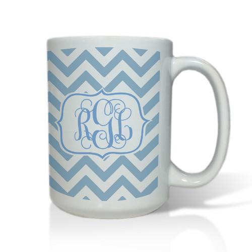 Personalized White Mug  15 oz.Chevron Vine Monogram
