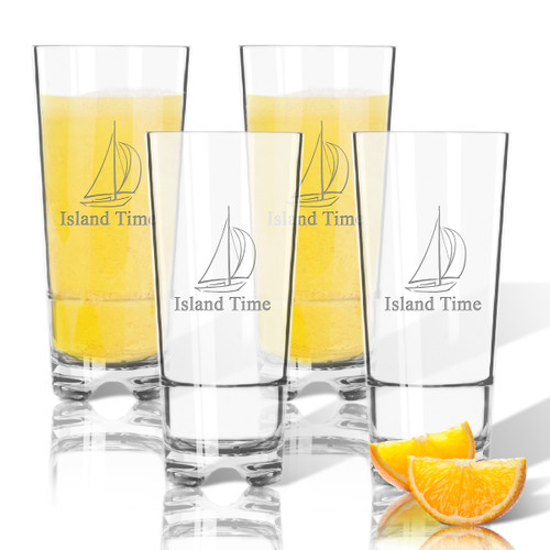 Tritan High Ball Glasses 16 oz (Set of 4) :  Sailboat