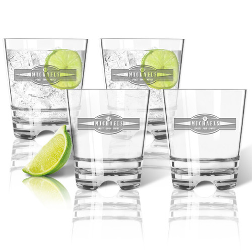 Tritan Double Old Fashioned Glasses 12oz (Set of 4): Sports Food Drink Banner