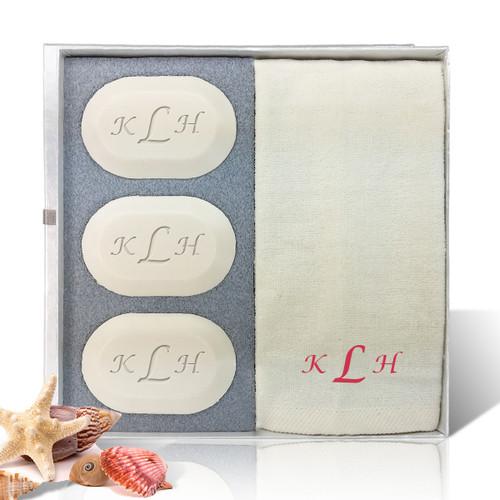 Eco-Luxury Gift Set - Red Monogram (3 Bars 1 Towel)