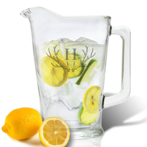 PERSONALIZED ANTLER MOTIF PITCHER (GLASS)