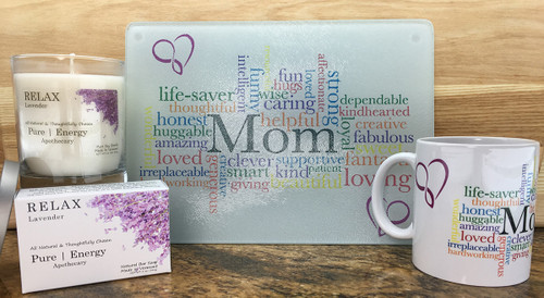 3 Case Pack Pure Energy Apothecary Lavender Soap, Candle, MOM Cutting board and Mug