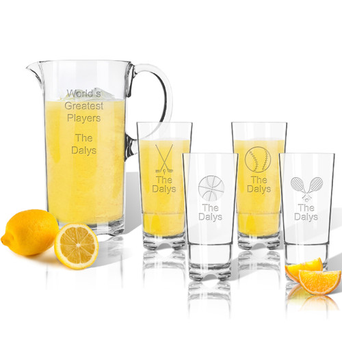 Entertaining Set: Tritan Pitcher and High Ball Glasses 16 oz (Set of 4) : Sports Variety with name