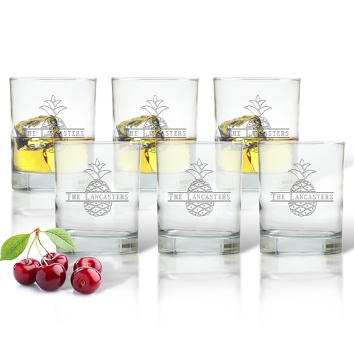 PERSONALIZED SPLIT LETTER PINEAPPLE DOUBLE OLD FASHION SET OF SIX