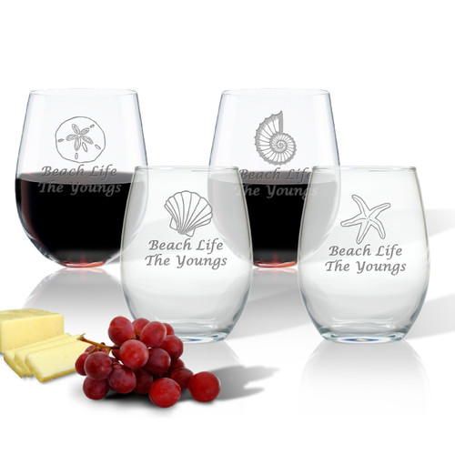 PERSONALIZED STEMLESS WINE TUMBLER SET OF 4 (Glass)(Shell Collection)