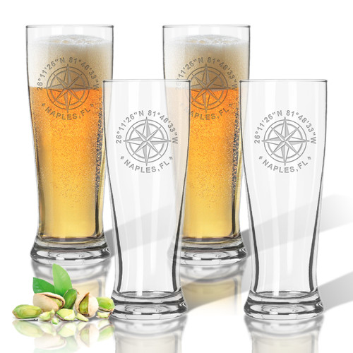GPS COORDINATES, PILSNER GLASS: SET OF 4