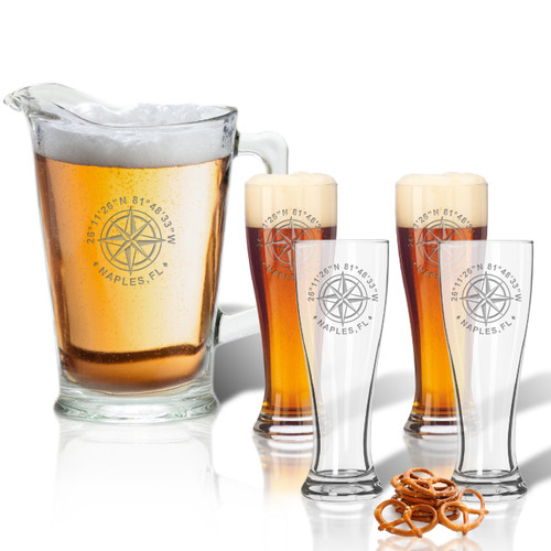 GPS COORDINATES, Pitcher 60oz & (Set of 4) 16oz Pilsner Glasses