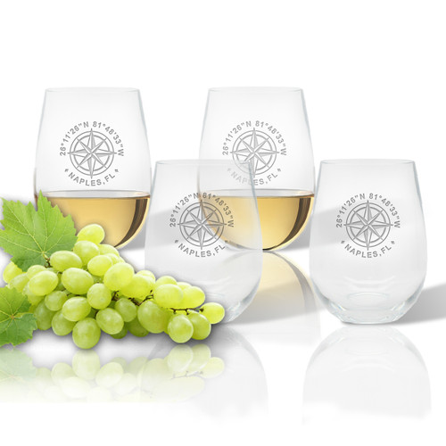 Stemless Wine Tumbler (Set of 4) (Tritan Unbreakable) GPS Coordinates