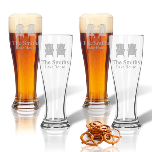 ICON PICKER PERSONALIZED PILSNER GLASS: SET OF 4 (Beach/Nautical)