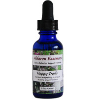 Aldaron Essences Happy Trails flower remedy for dogs. Special blend improves adaptability to change of home or environment.