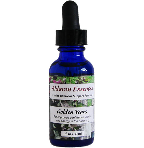 Aldaron Essences' Golden Years - flower essence formula for dogs. Bring back your senior dog's confidence, clarity, energy and enjoyment of life!