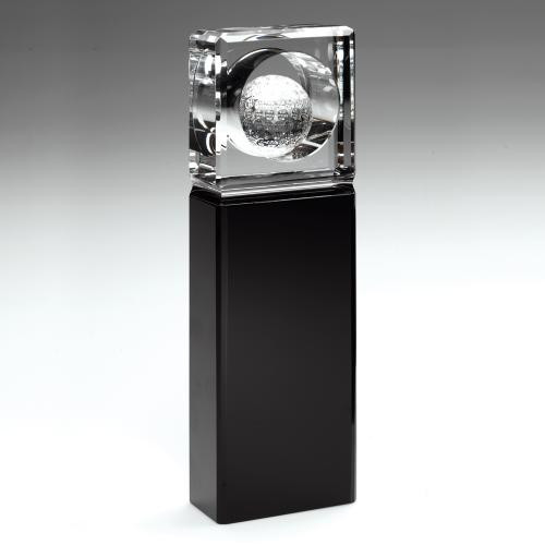BLACK AND CLEAR GLASS GOLF AWARD