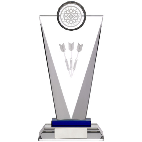 Pinnacle glass darts award with 3D laser engraved darts and top dartboard