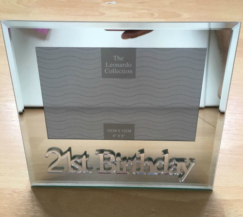 MIRRORED 21st BIRTHDAY 6X4 PHOTO FRAME