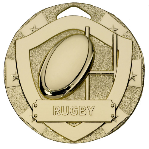 50mm Gold Embossed Rugby Medal available in Gold Silver and Bronze