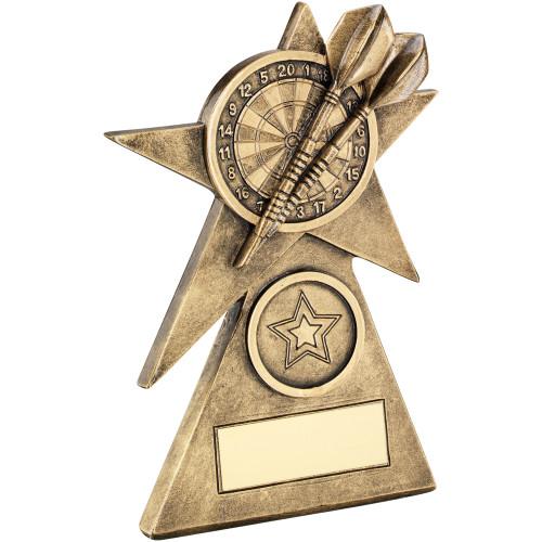 Gold Star Dart and Dartboard Trophy
