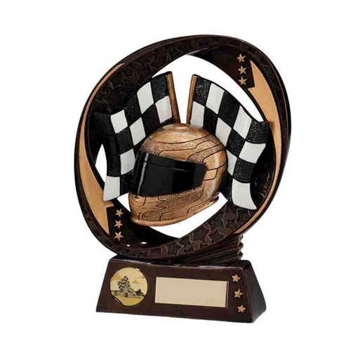 Typhoon motorsports trophy helmet and chequered flags award