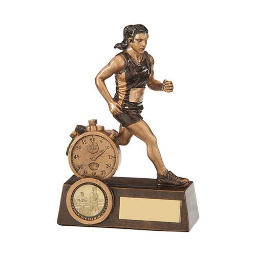 Endurance Female Running Athletics award stop clock and athlete