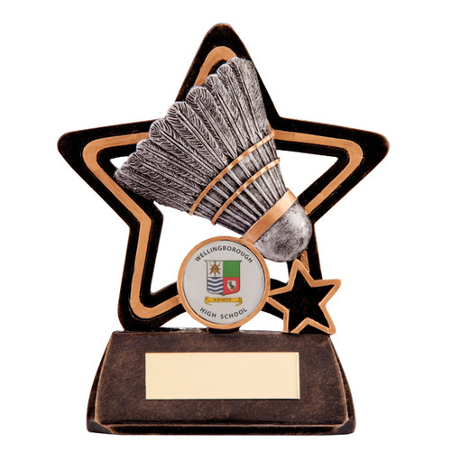 Little Star Badminton budget award with feather shuttlecock