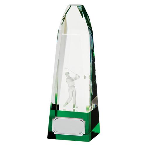 Pinnacle optical crystal glass golf trophy award