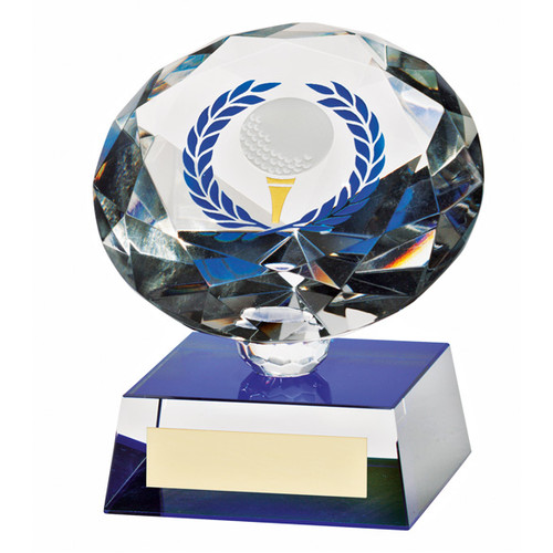 An exquisite optical crystal golf trophy at a superb price