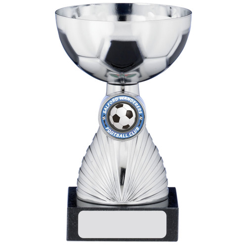Budget cheap silver football trophy cup available in 3 sizes