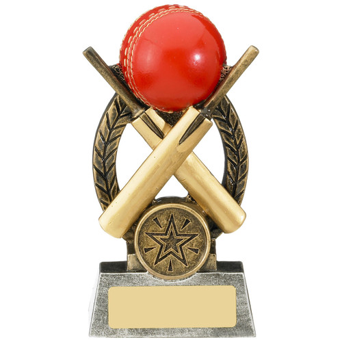 Escapade cricket award with two gold bats and a red cricket bowling ball