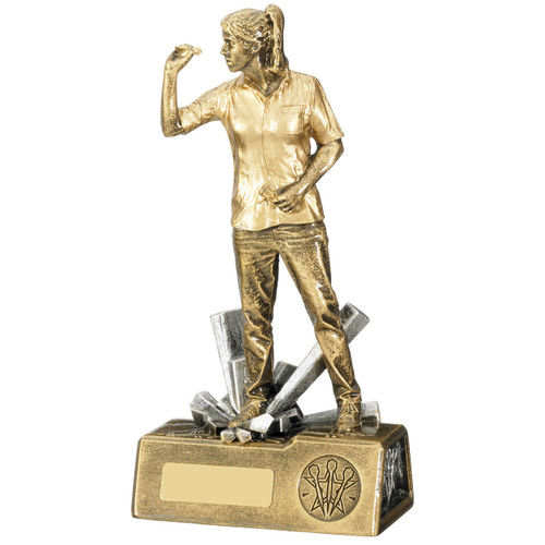 Female gold darts player Award available in 2 affordable sizes from 1st Place 4 Trophies