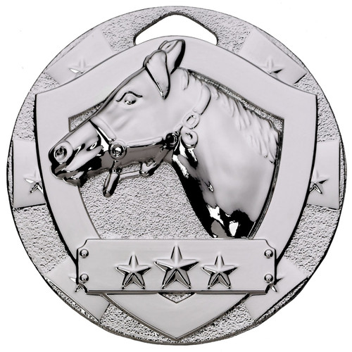 50mm Silver Embossed Equestrian Horse head medal with FREE Engraving!