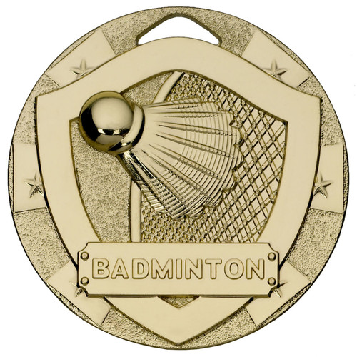 50mm embossed Gold Badminton Medal with FREE engraving