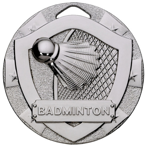50mm embossed Silver Badminton Medal with FREE engraving