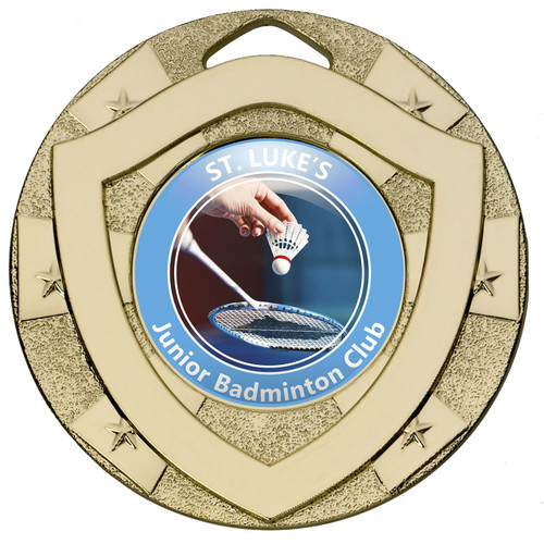 50mm Gold Centre Shield Medal for any activity with FREE engraving