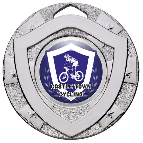 50mm Silver Centre Shield Medal for any activity with FREE engraving