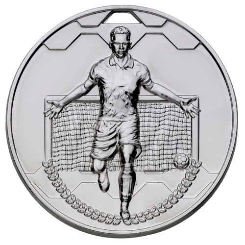 60mm Silver Football sports die-cast medal with FREE engraving