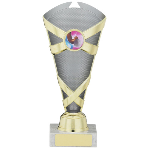 Grey and Gold X Multi sport or activity Trophy available in 3 sizes with FREE engraving.