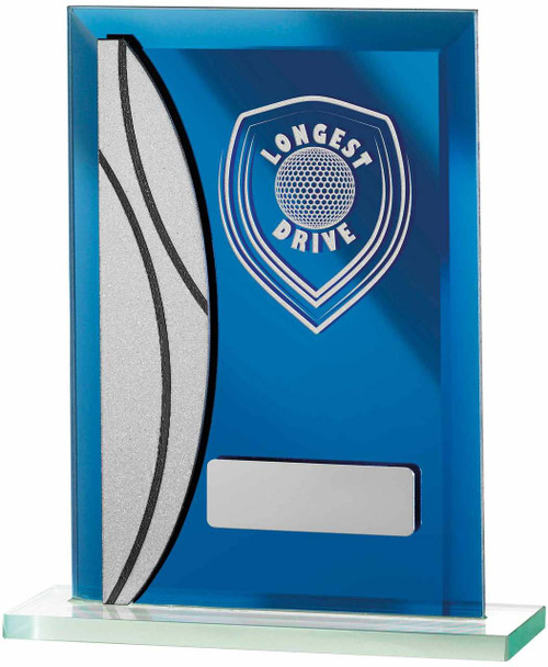 Blue Mirror Glass Longest Drive Golf Trophy available with FREE engraving