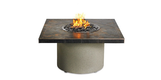 Sedona Falcon Gray Square Fire Pit with Refreshment Bowl