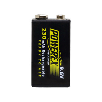 PowerEx PreCharged 9V Battery - True 9.6V, 230mAh, Ultra Low Self-Discharge