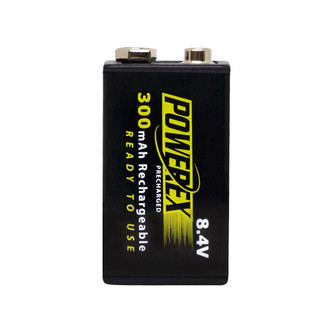 PowerEx PreCharged Rechargeable 9V Battery - 8.4V, 300mAh, Ultra Low Self-Discharge