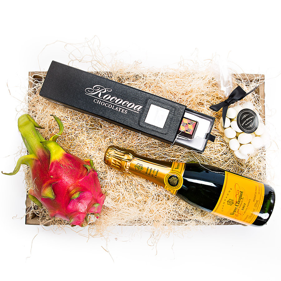 •	Handmade Artisan Belgian Chocolate Gift Box •	Veuve Clicquot Brut Champagne •	Dragon Fruit •	White Chocolate Covered Almonds