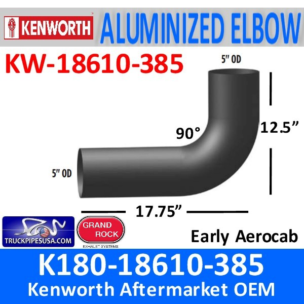 K180-18610-385 Kenworth Exhaust Elbow 90 Degree