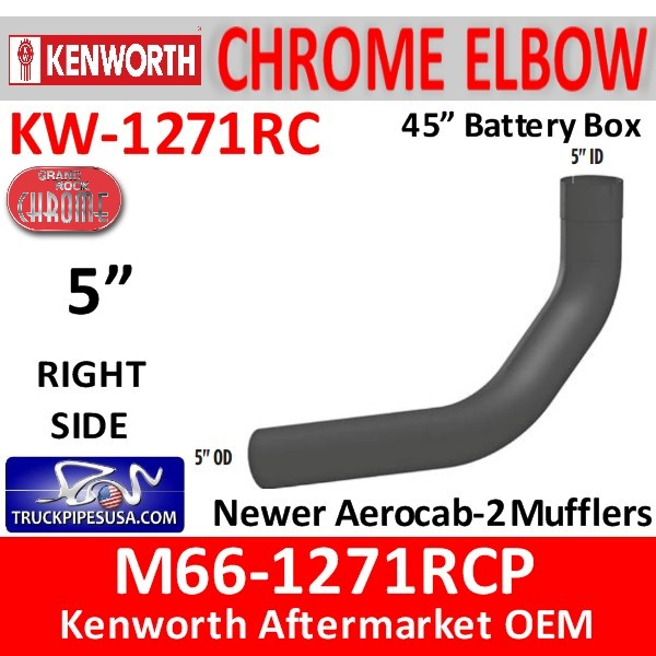 M66-1271RCP Kenworth Chrome Left Elbow for 45