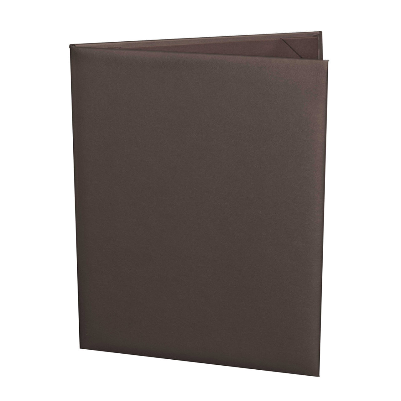 Dark Brown (Chocolate) Menu Cover for 8.5 in. x 11 in. Insert, 2-Panels (outside view)