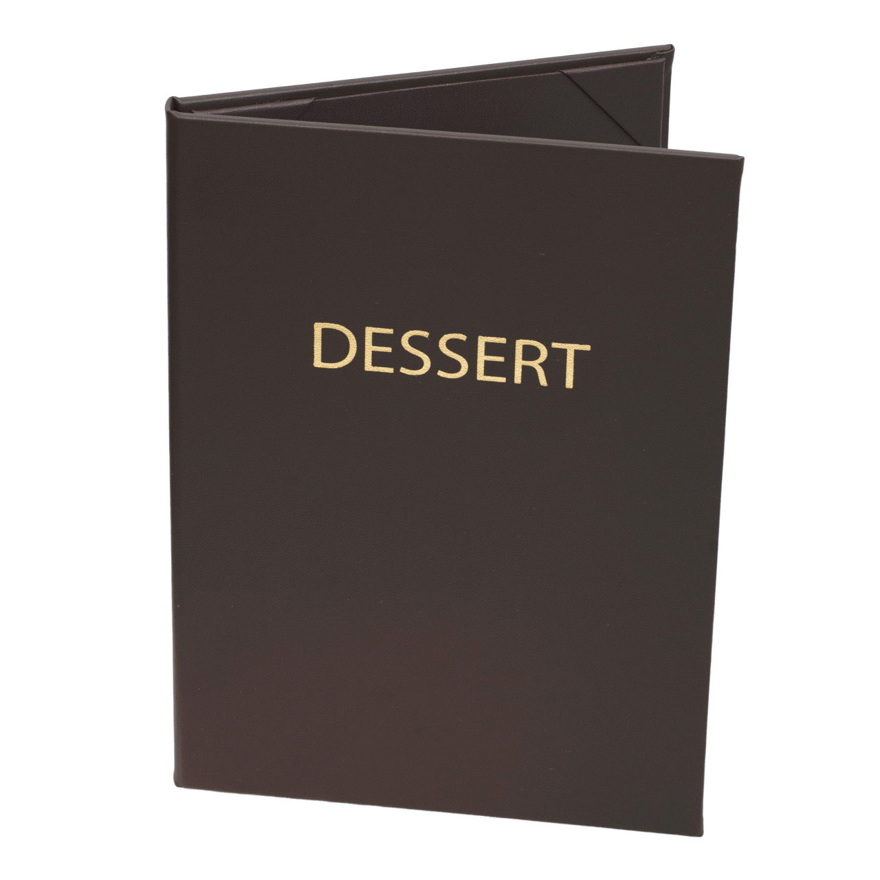 Dessert Menu Cover in Dark Brown Faux Leather Gold Foil Stamp.  2-Panels for 5.5 in. x 8.5 in. Menu Sheets