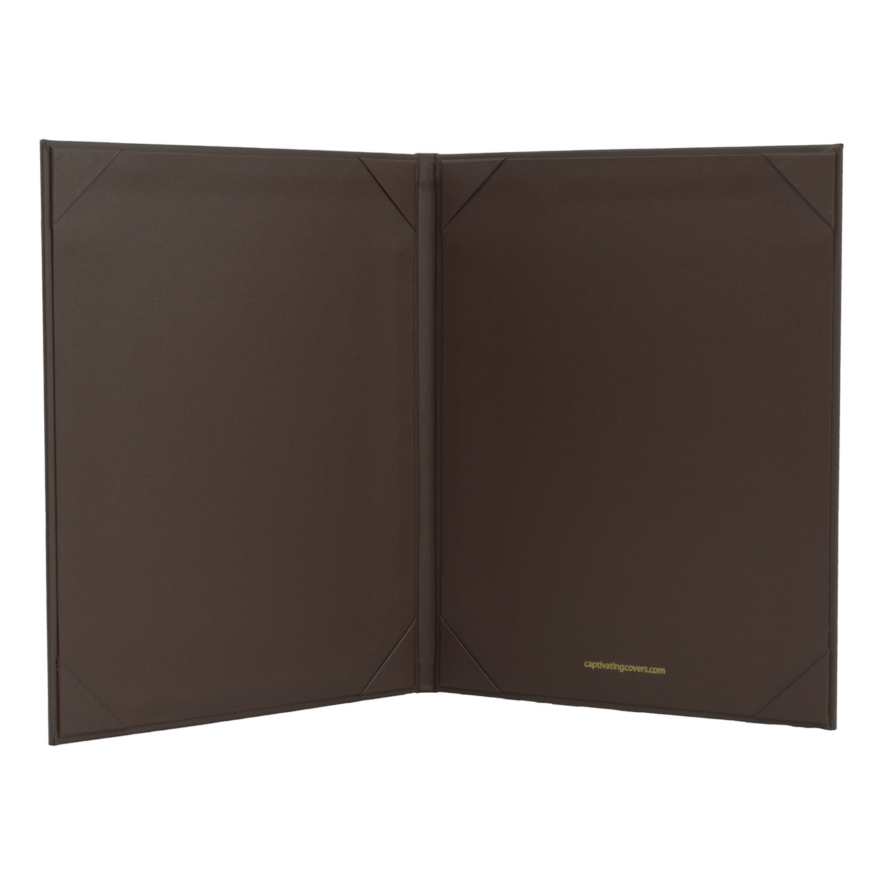 Menu Cover in Dark Brown Faux Leather  2-Panels for 5.5 in x 8.5 in. Menu Sheets (inside shown)