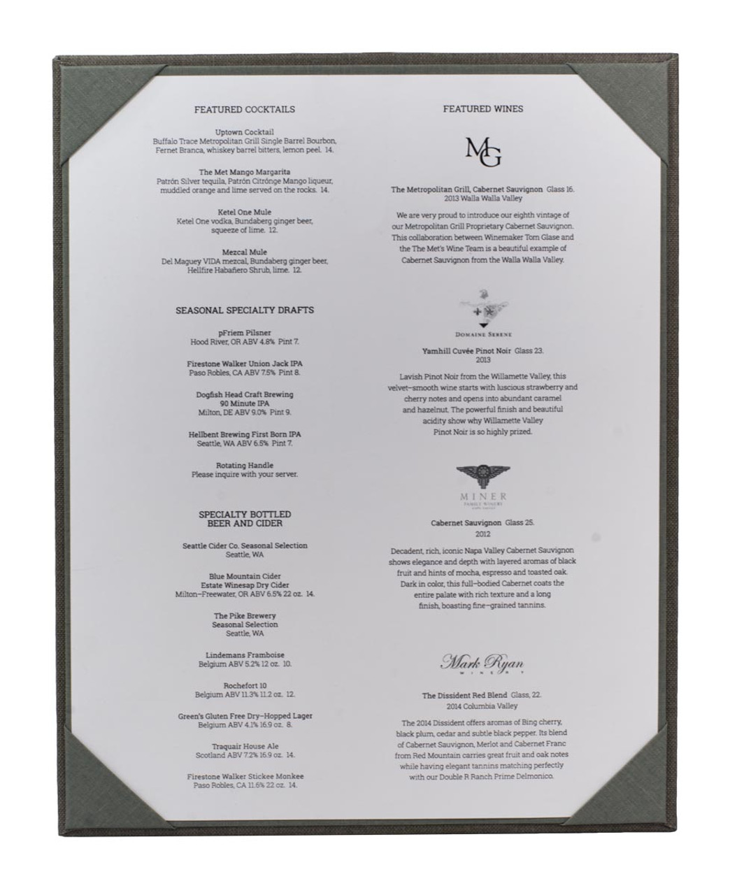 """8 1/2"""" x 11"""" Insert, 1-Panel Menu Holder with Menu Sheet (not included) Gray (inside)"""