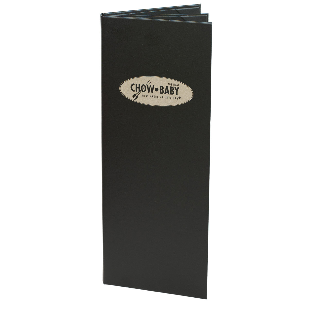 "4 1/4"" x 14"" Insert Menu Cover 2-panel, 6-view chocolate. Produced for Chow Baby"